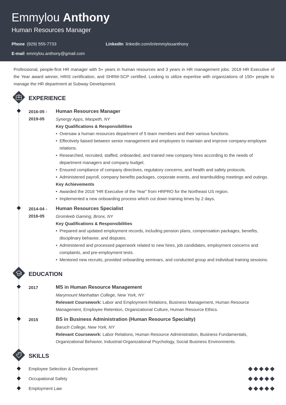 hr manager resume example template diamond