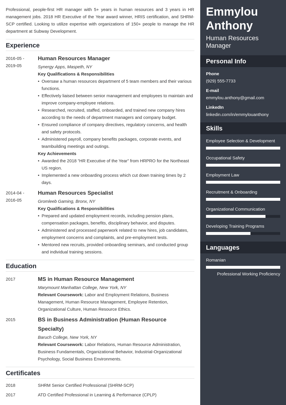 hr manager resume example template enfold