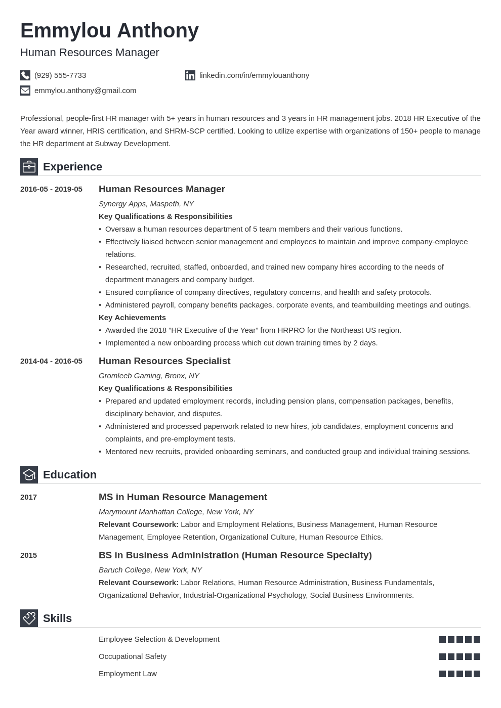 hr manager resume example template iconic