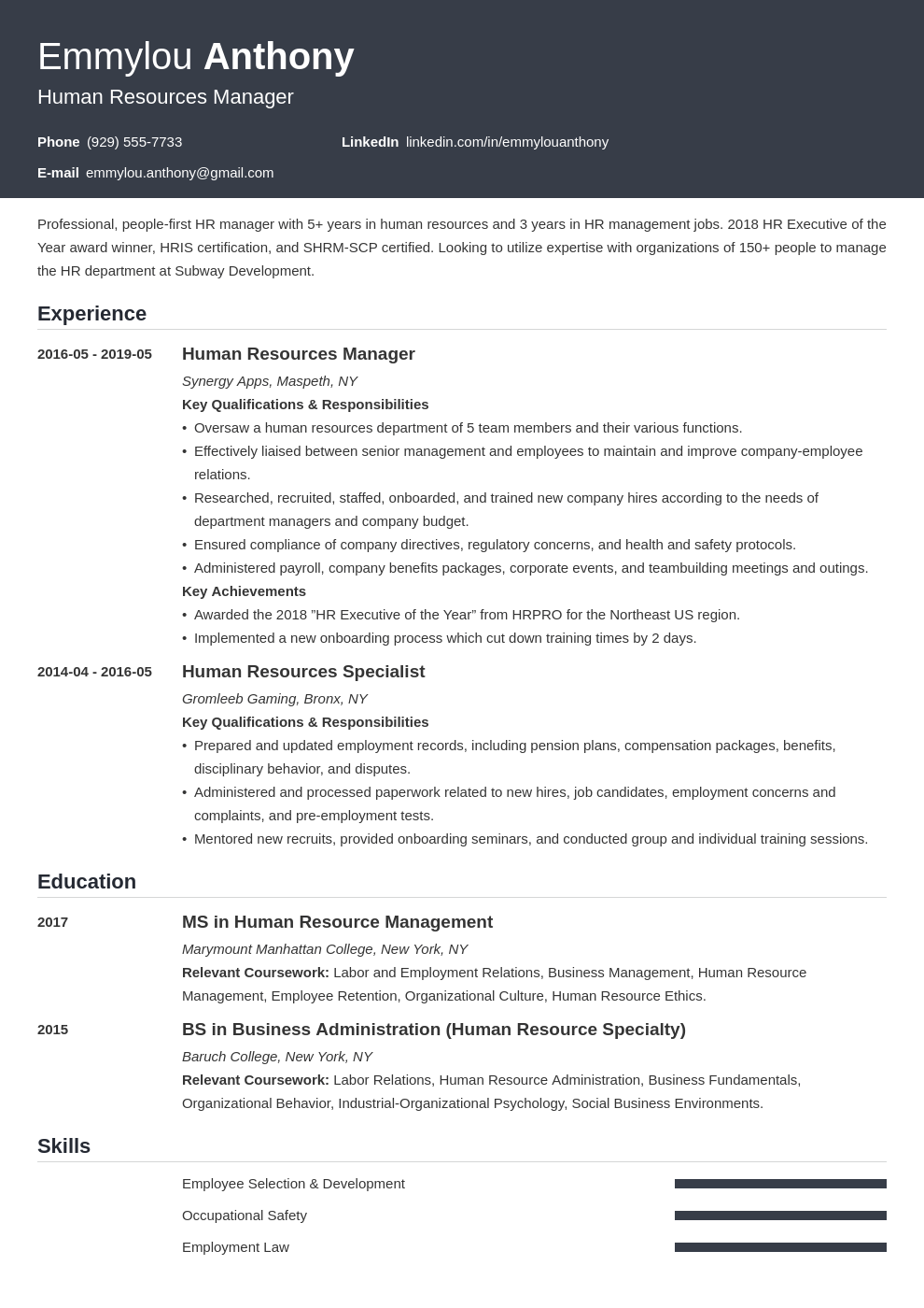hr manager resume example template influx