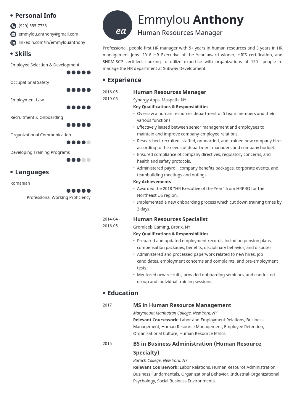 hr manager resume example template initials