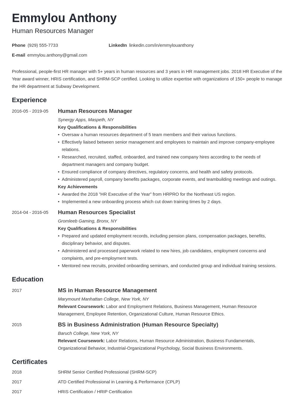 hr manager resume example template minimo