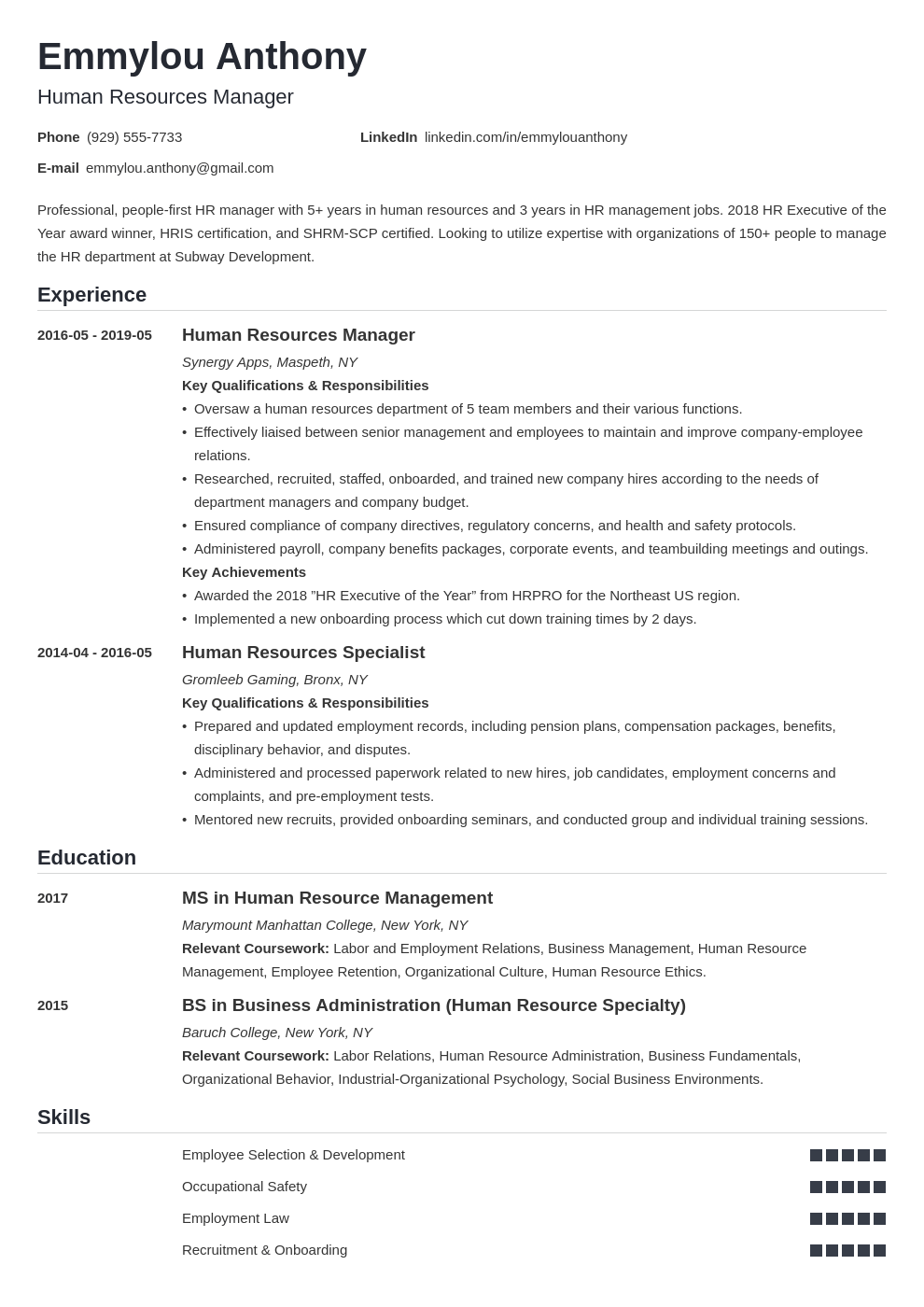 hr manager resume example template nanica