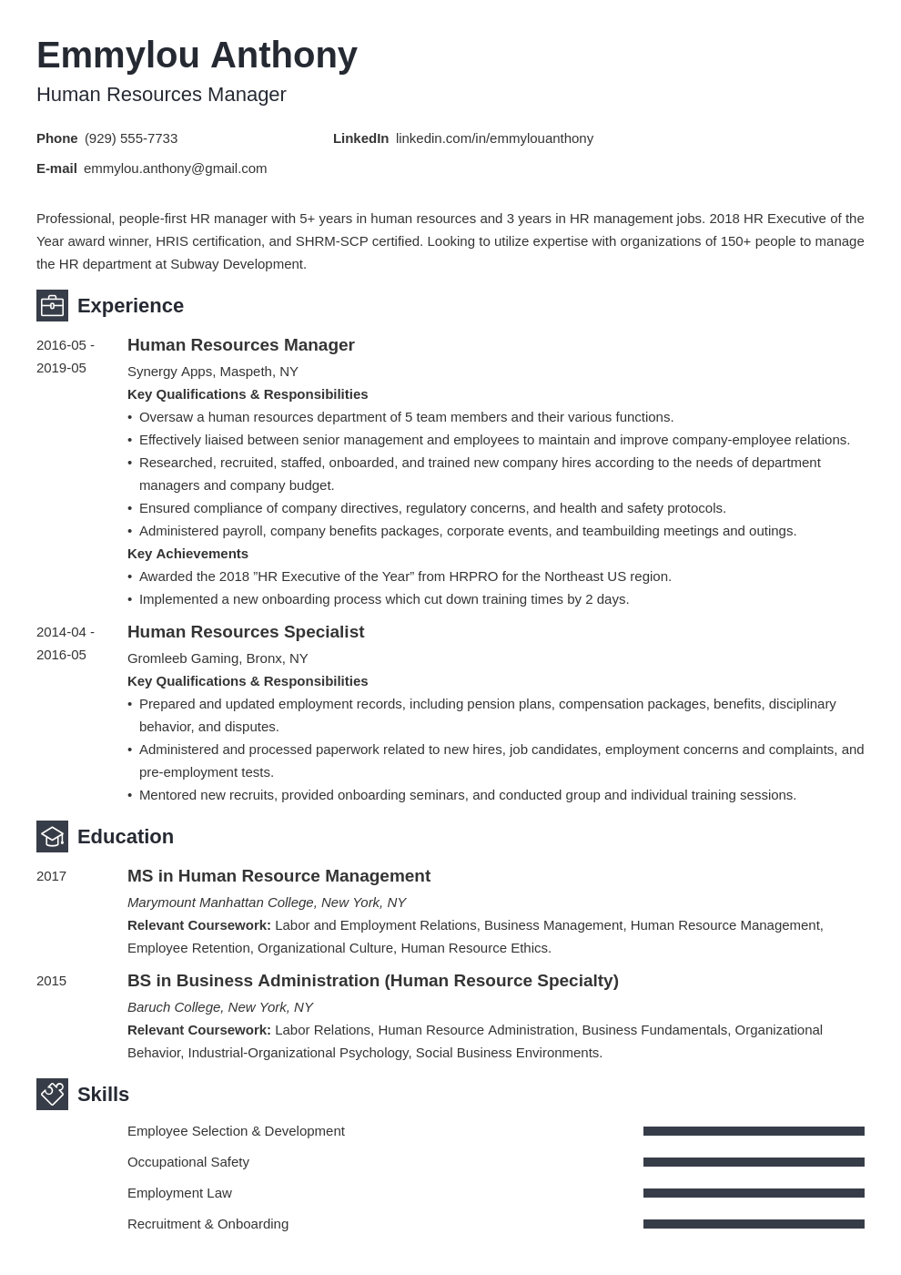 hr manager resume example template newcast
