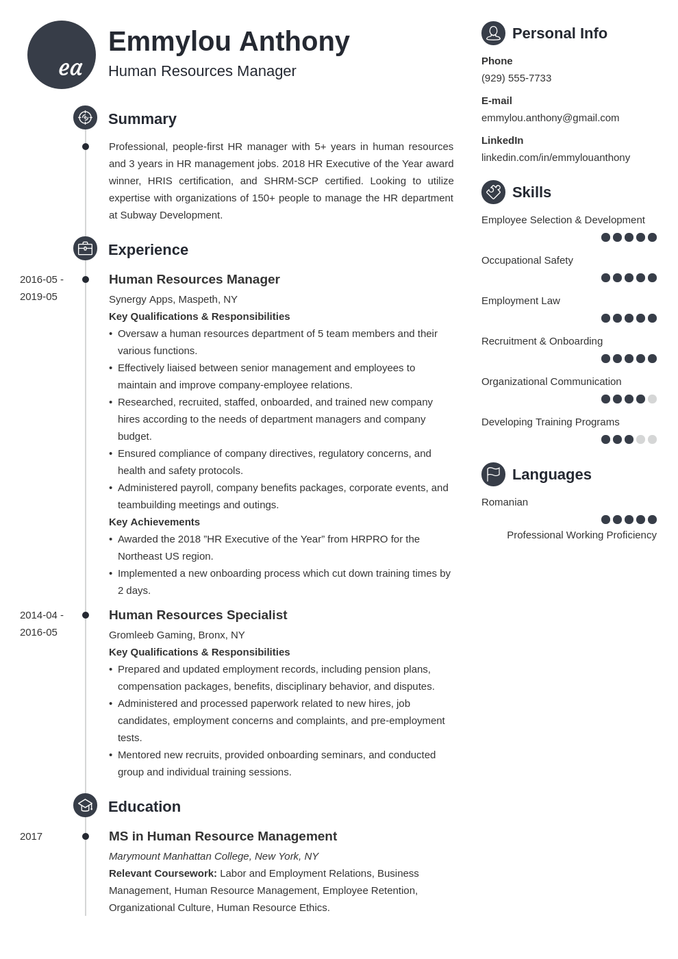 hr manager resume example template primo