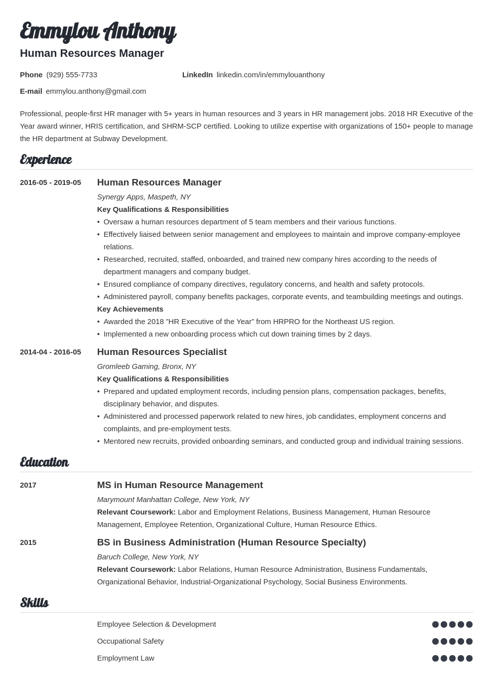 hr manager resume example template valera