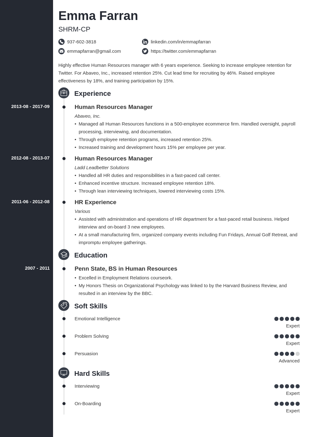 human resources resume example template concept