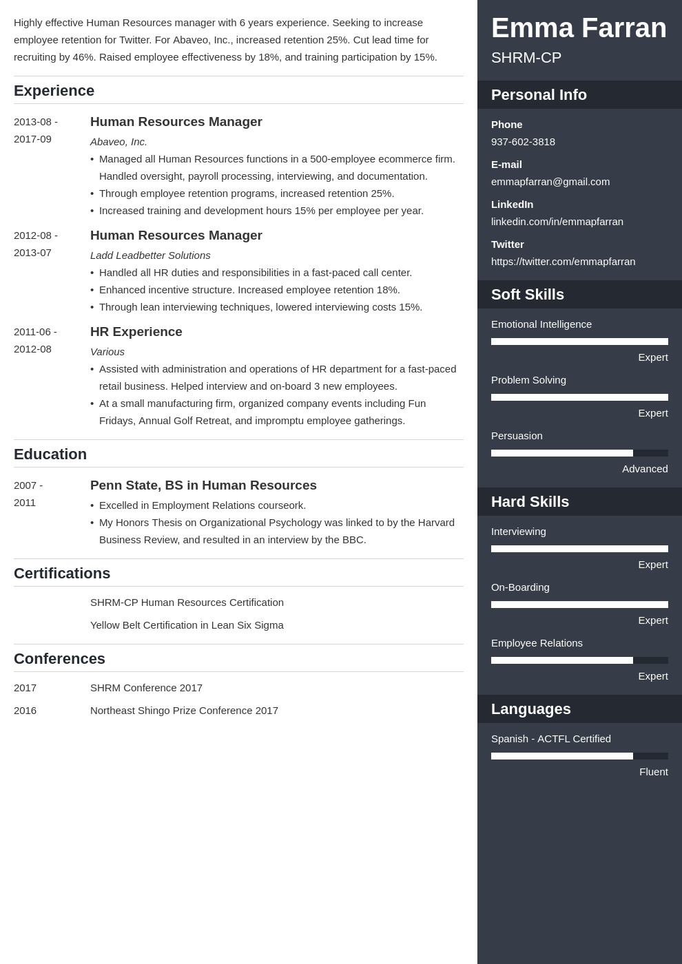 human resources resume example template enfold