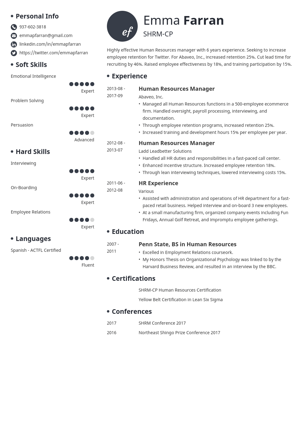 human resources resume example template initials