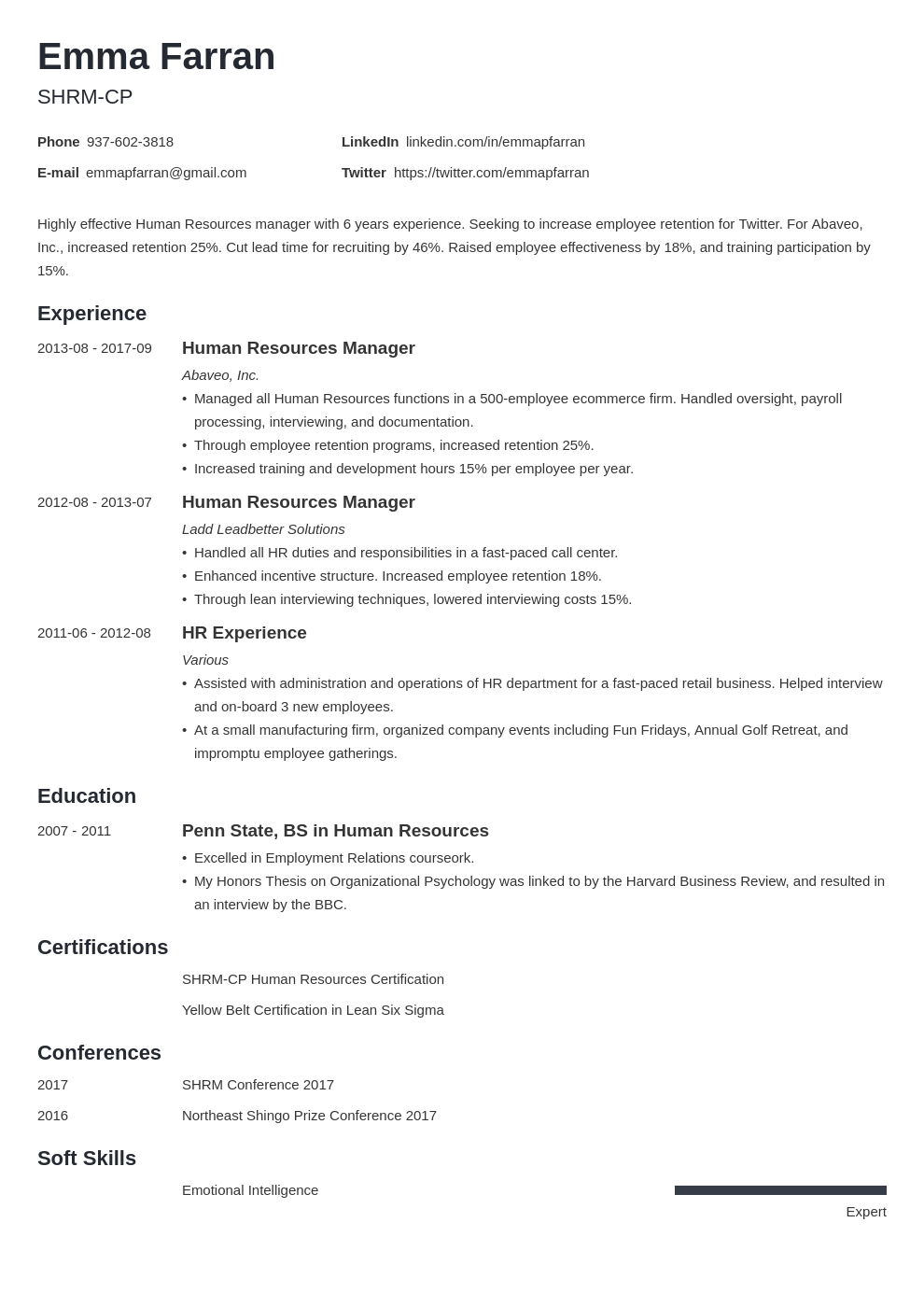 human resources resume example template minimo