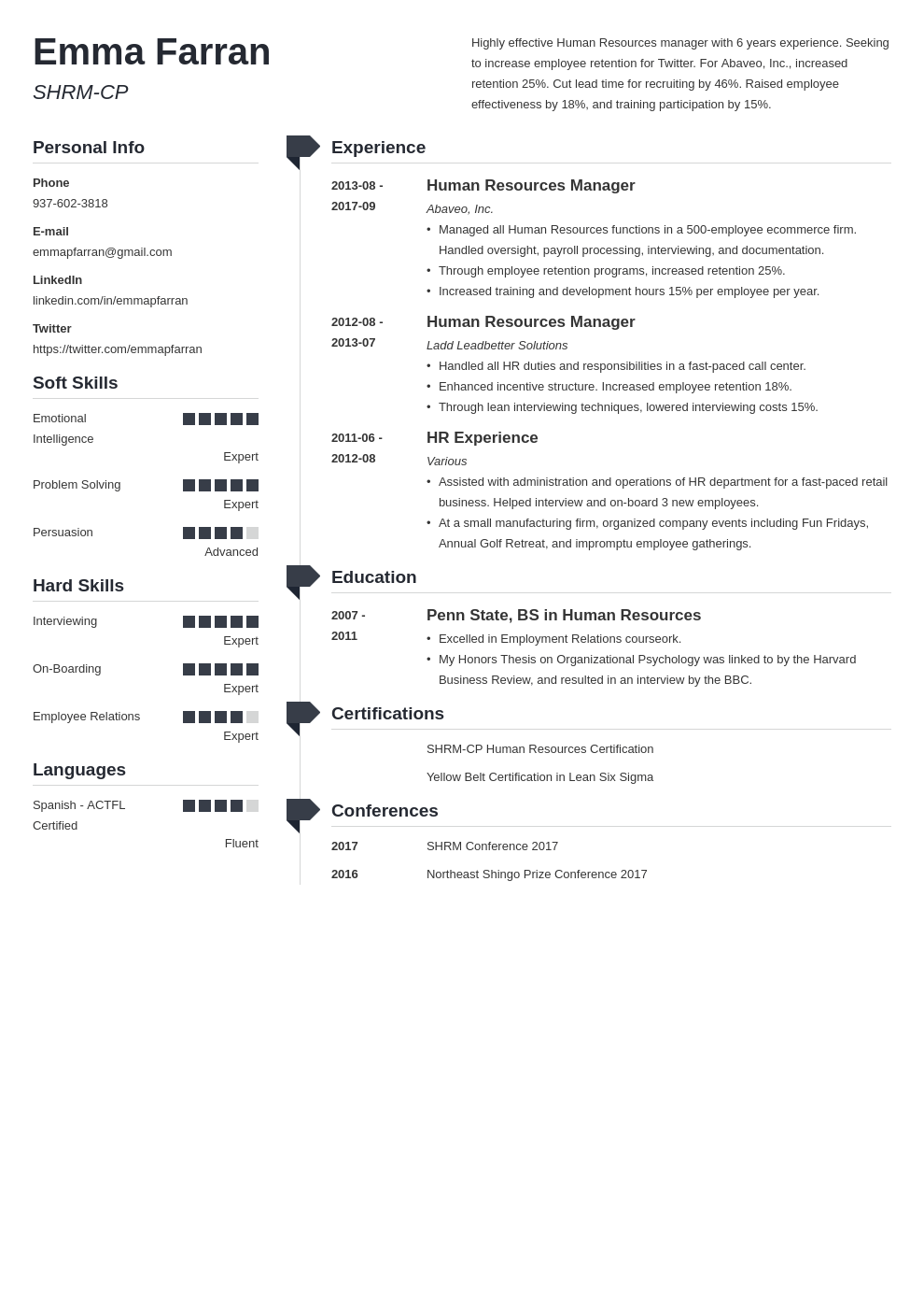human resources resume example template muse