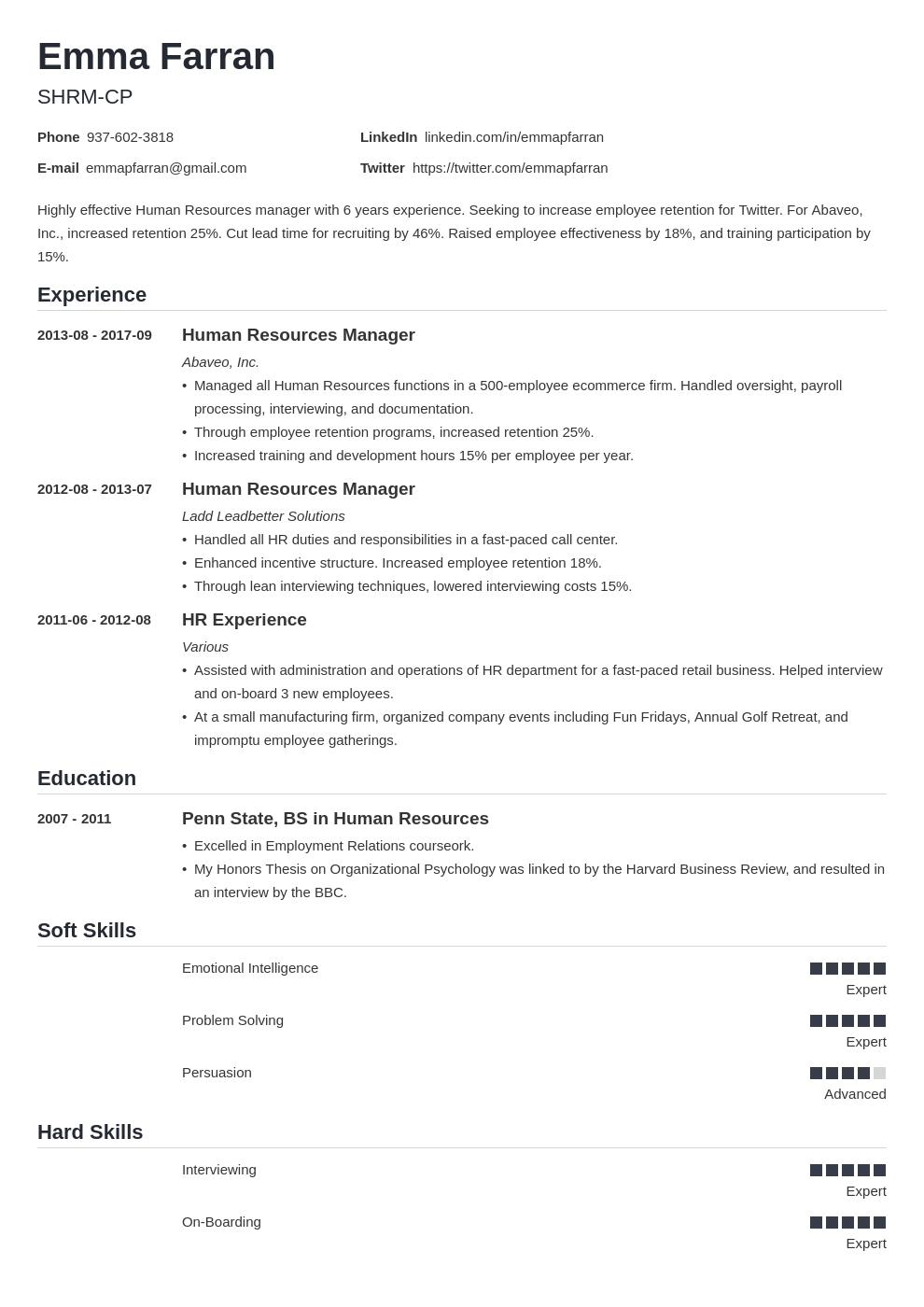 human resources resume example template nanica