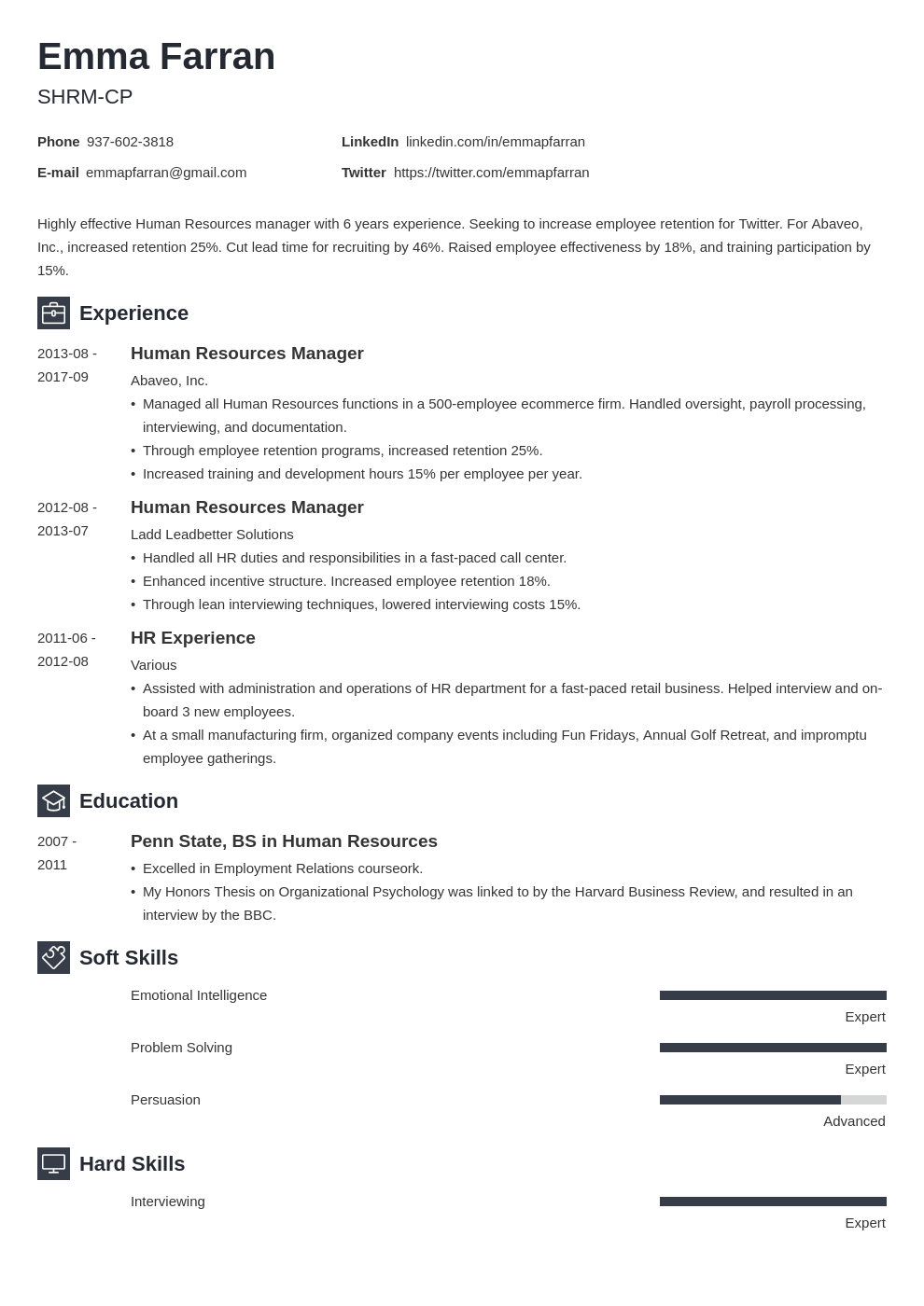 human resources resume example template newcast