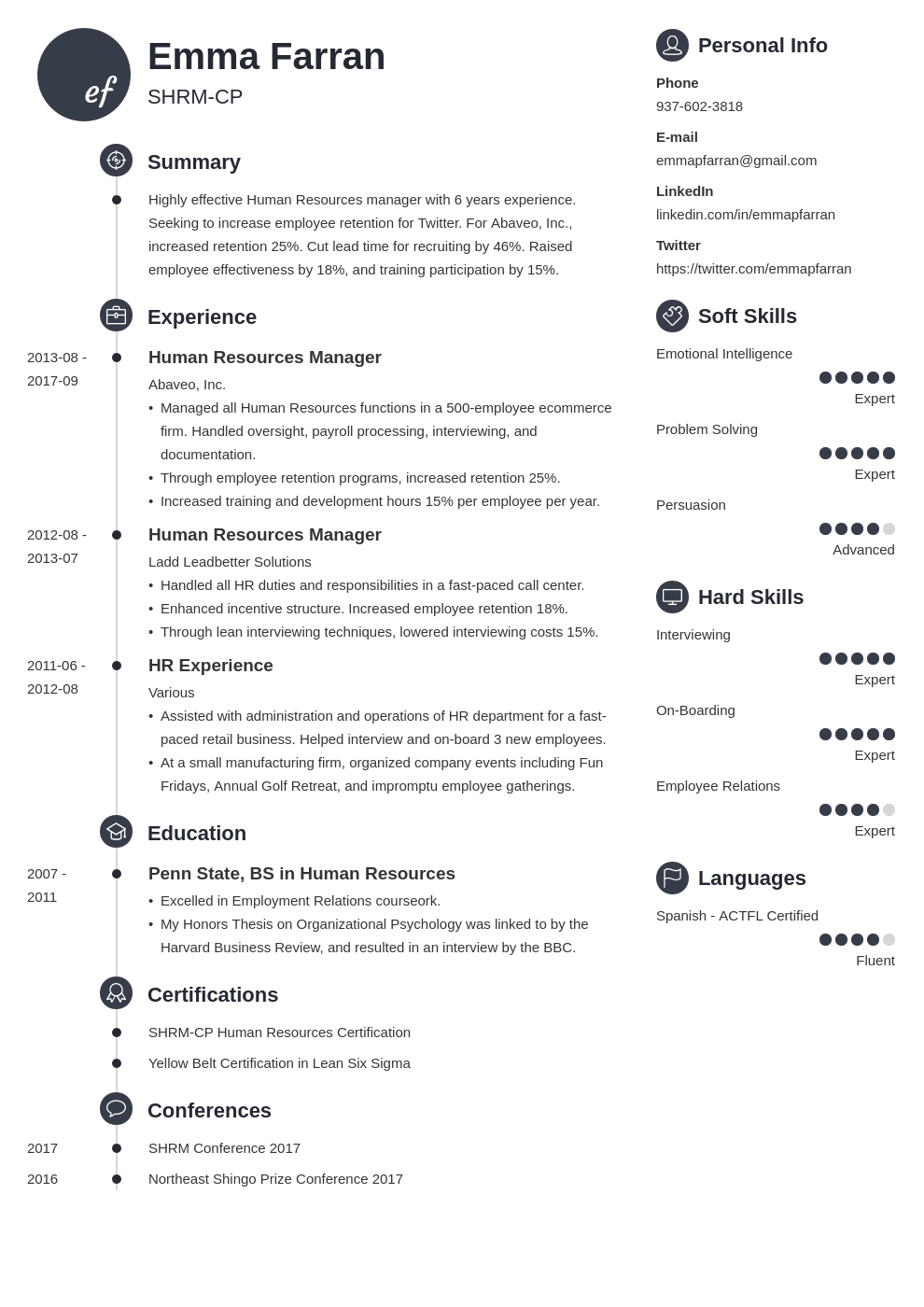 human resources resume example template primo
