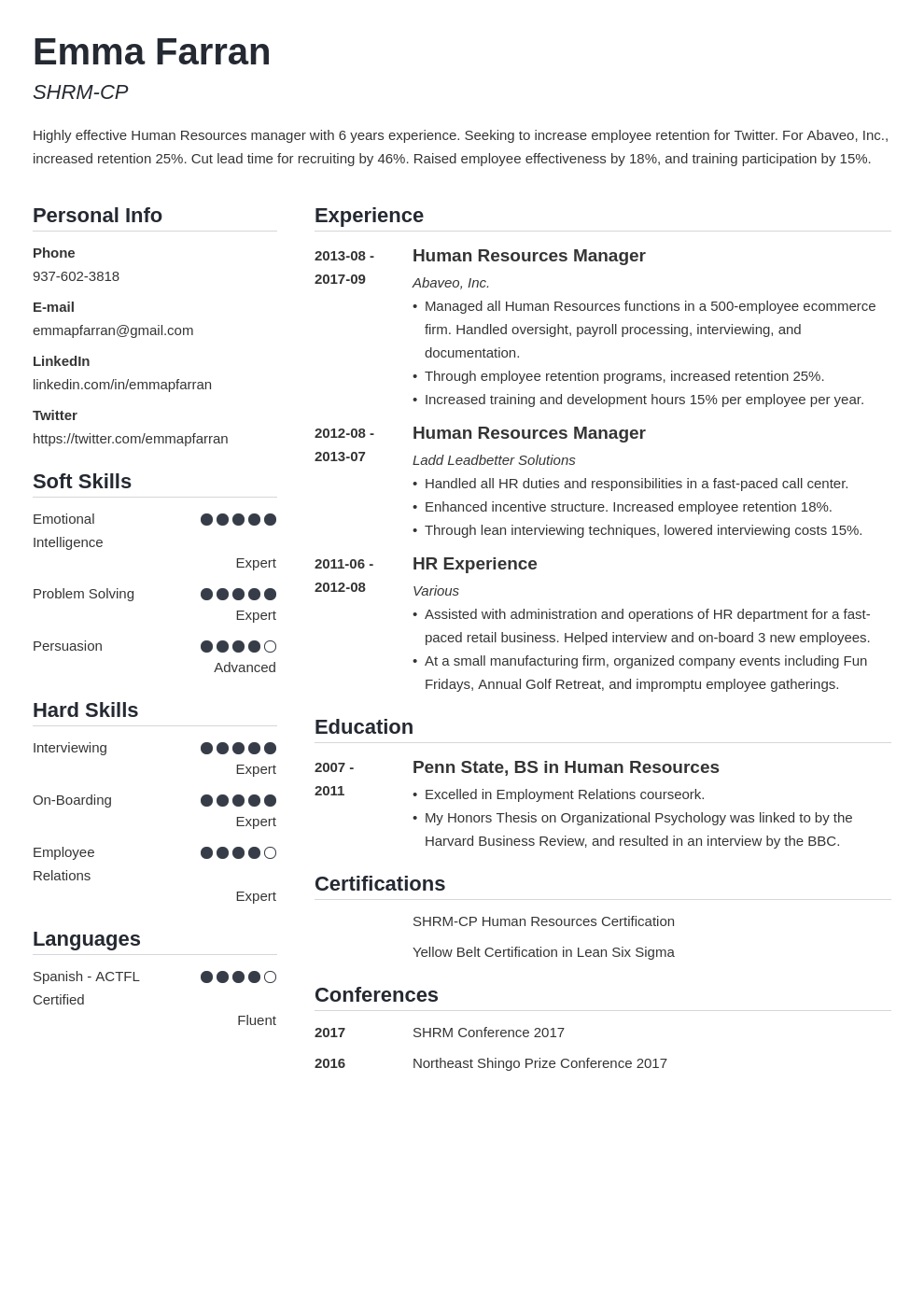 human resources resume example template simple