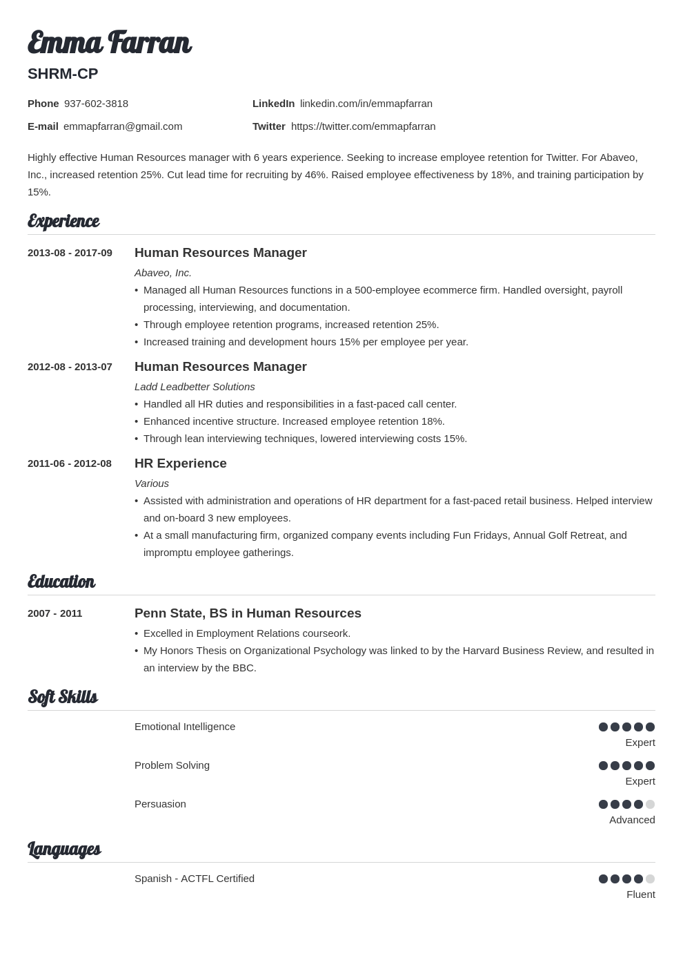 Human Resources Hr Resume Examples Guide 25 Tips