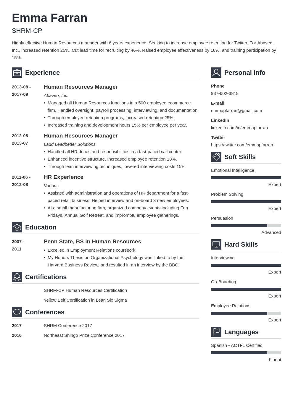 human resources resume example template vibes