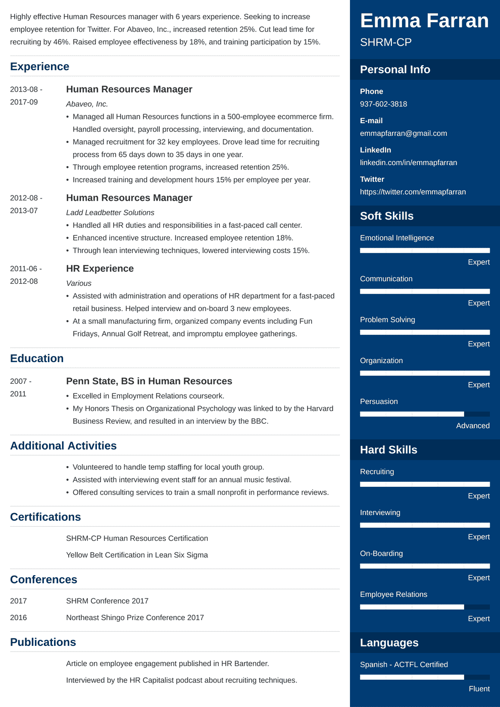 Human Resources Resume: Sample & Writing Guide [20+ Examples]