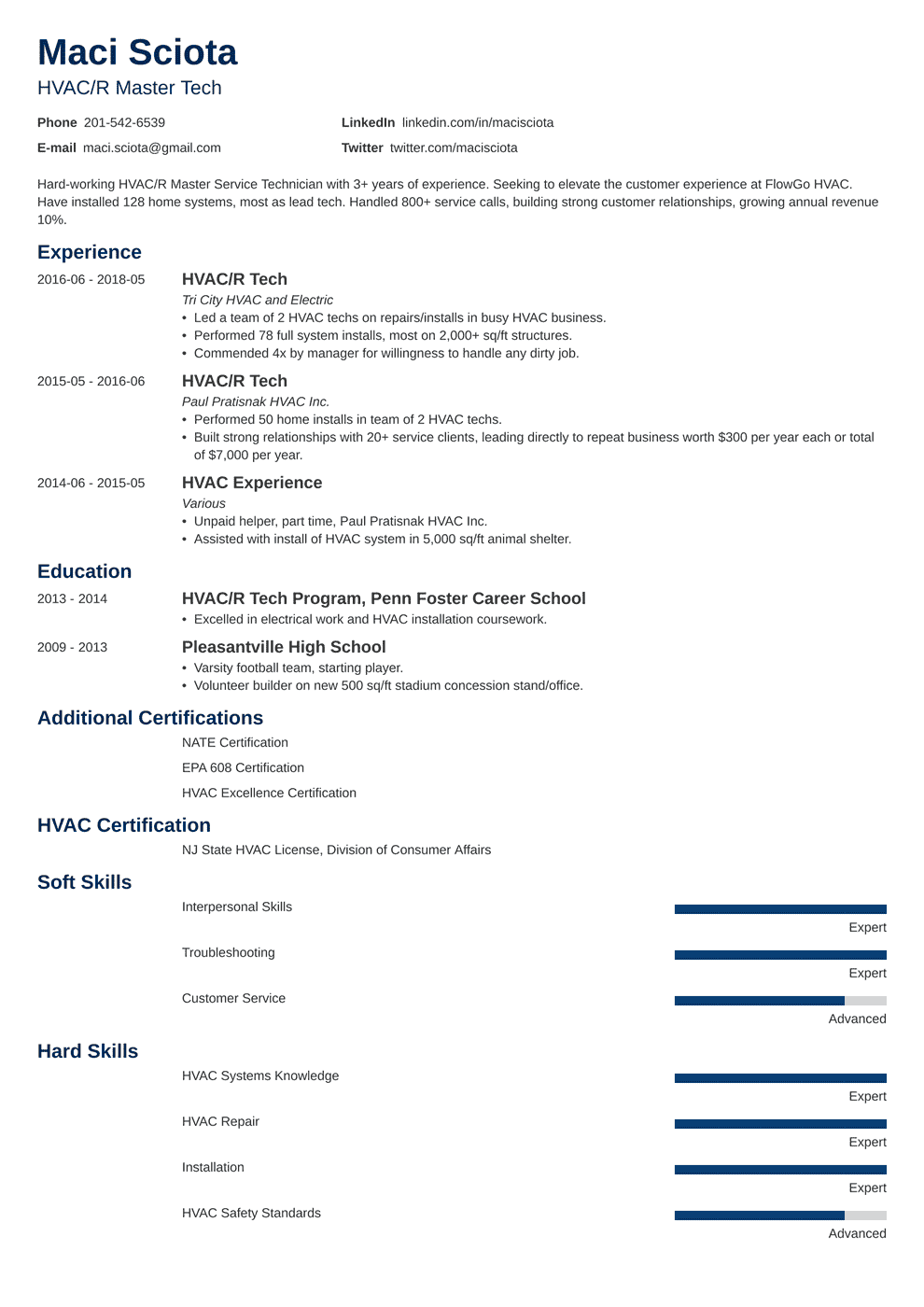Hvac Technician Resume Sample Hvac Service Tech Skills