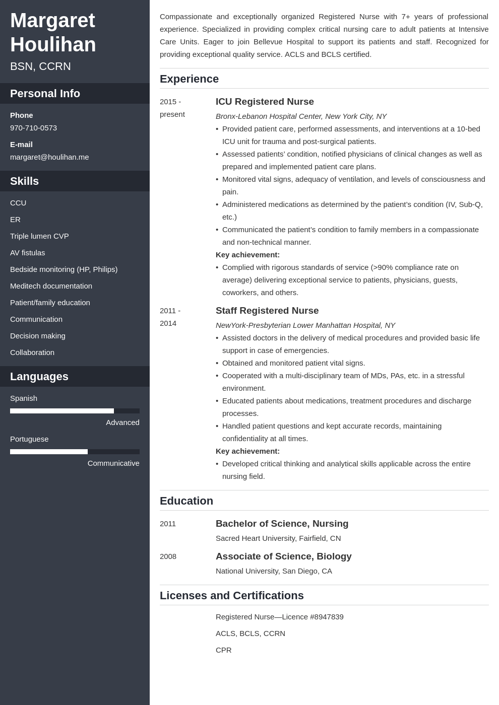 icu nurse resume example template cascade