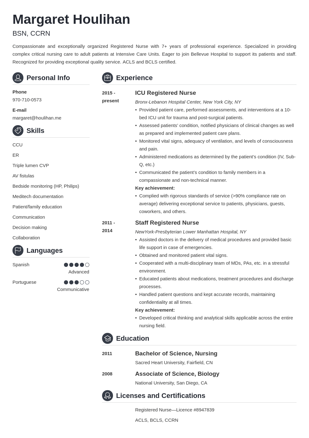 icu nurse resume example template crisp