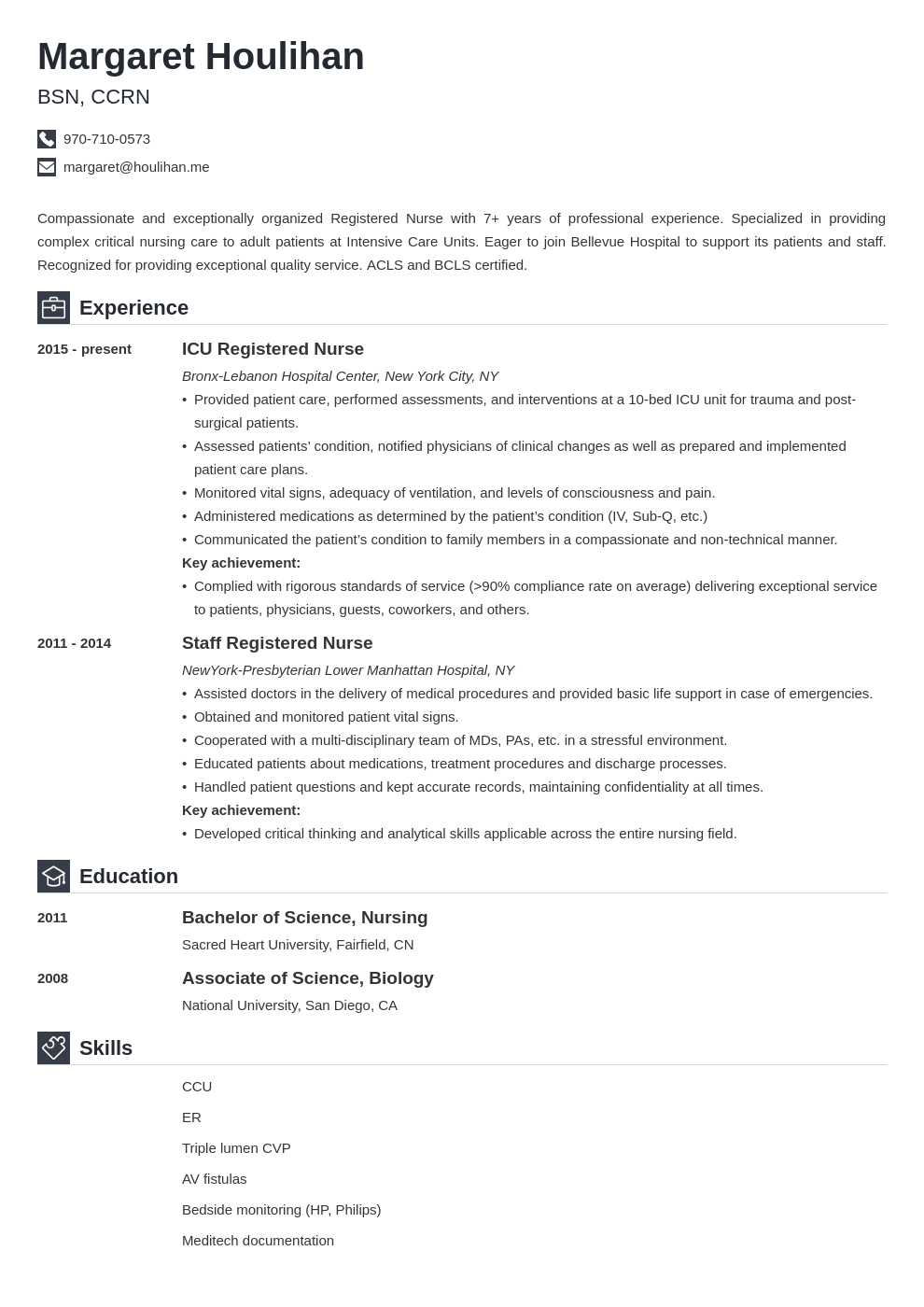 icu nurse resume example template iconic