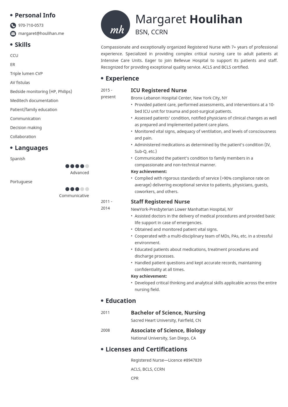 icu nurse resume example template initials