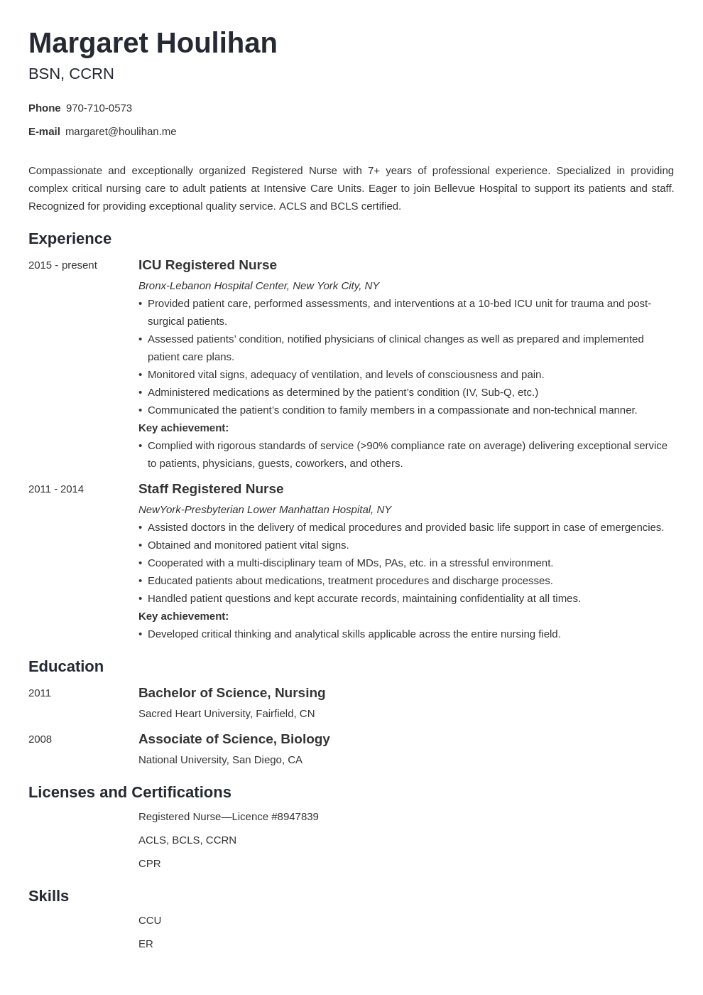 icu nurse resume example template minimo
