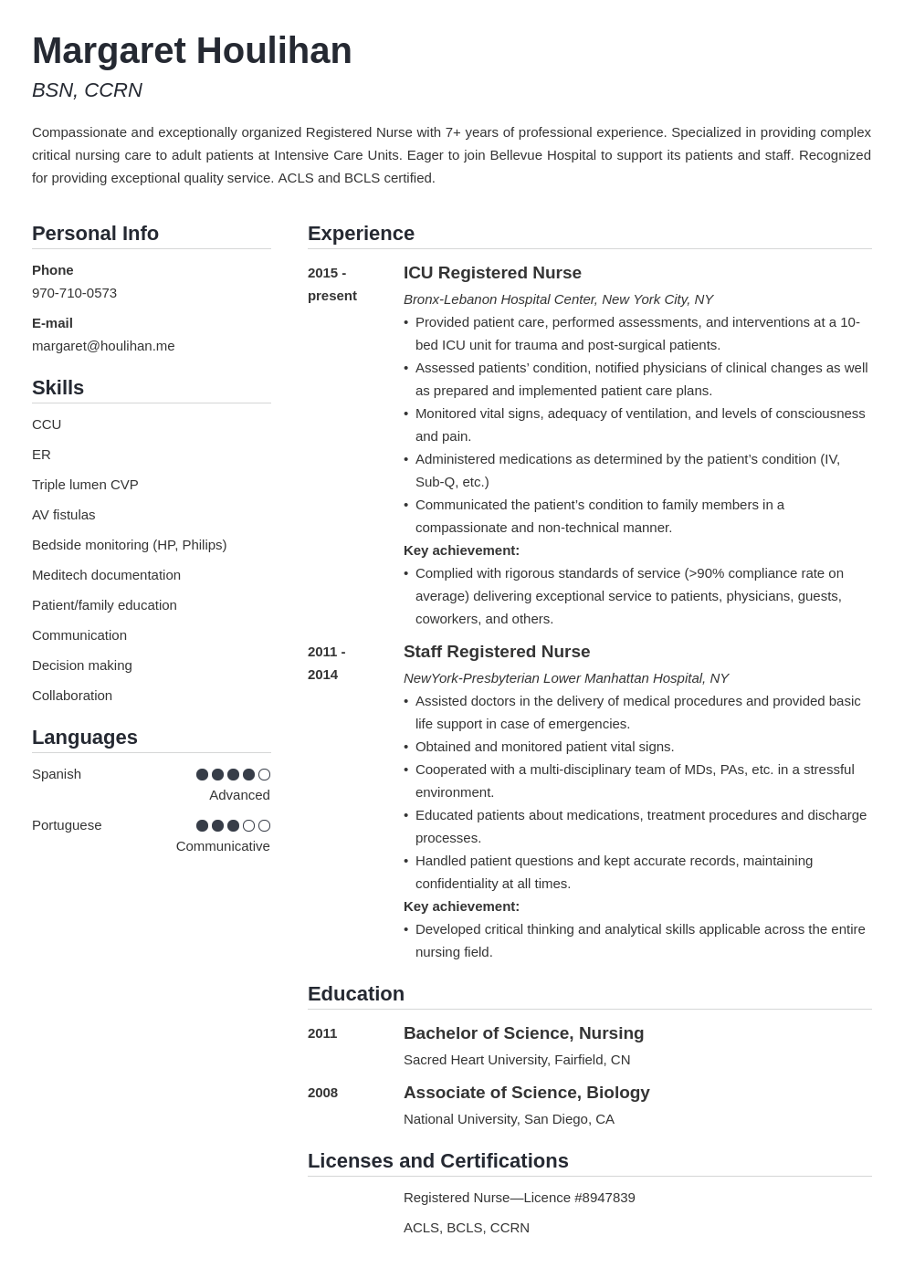 icu nurse resume example template simple