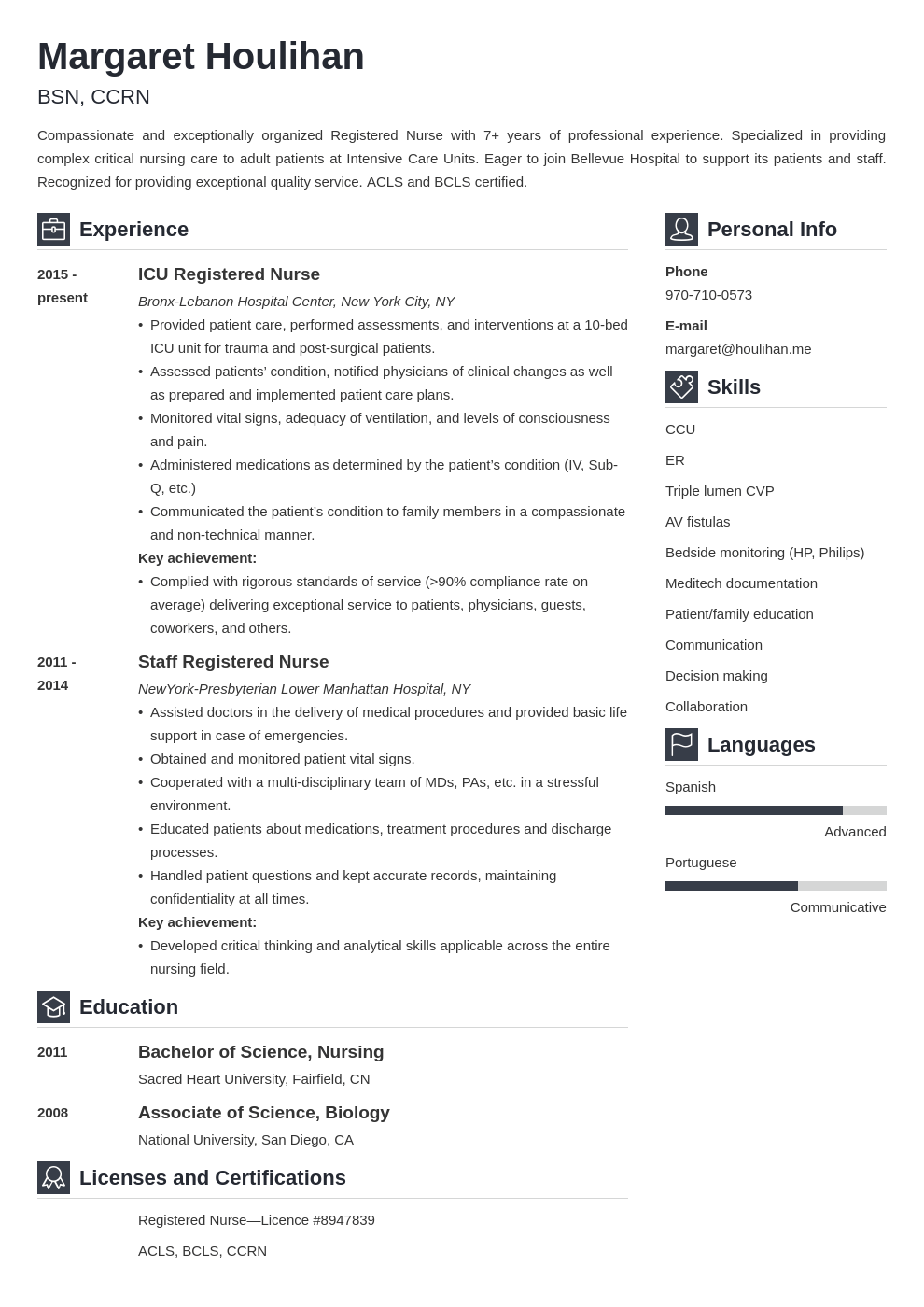 icu nurse resume example template vibes