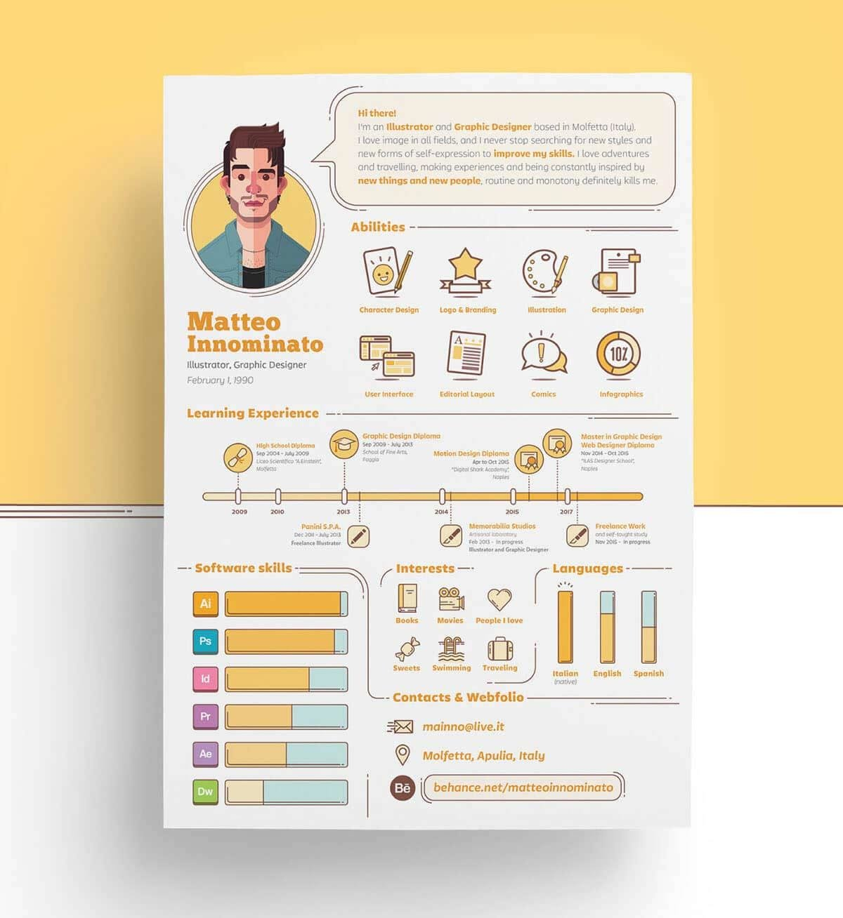infographic resume template in yellow