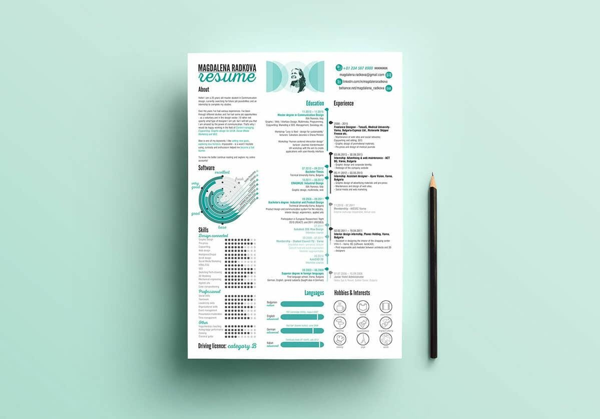 Editable Infographic Resume Template In Shades Of Blue