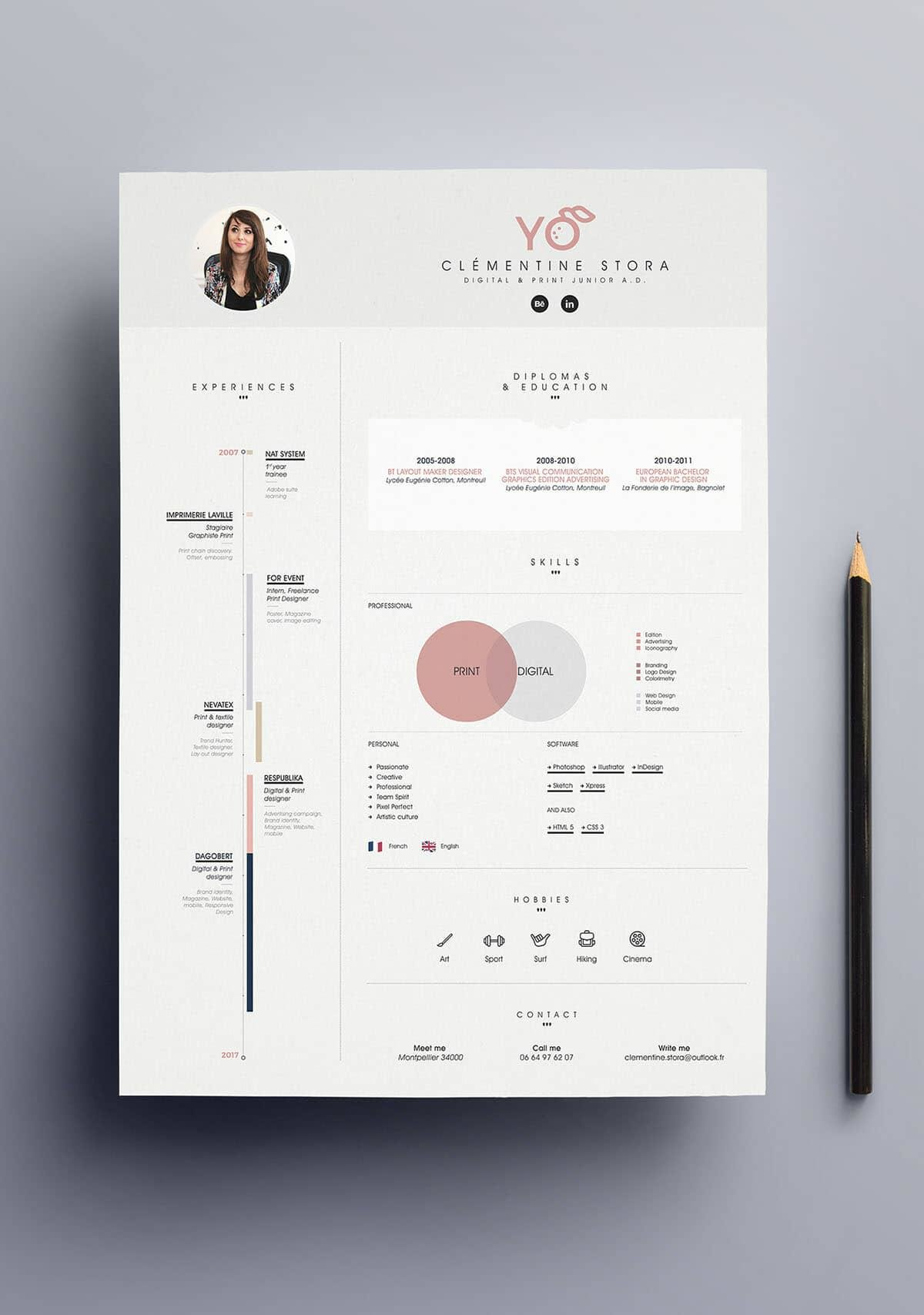 simple infographic resume with powder pink details