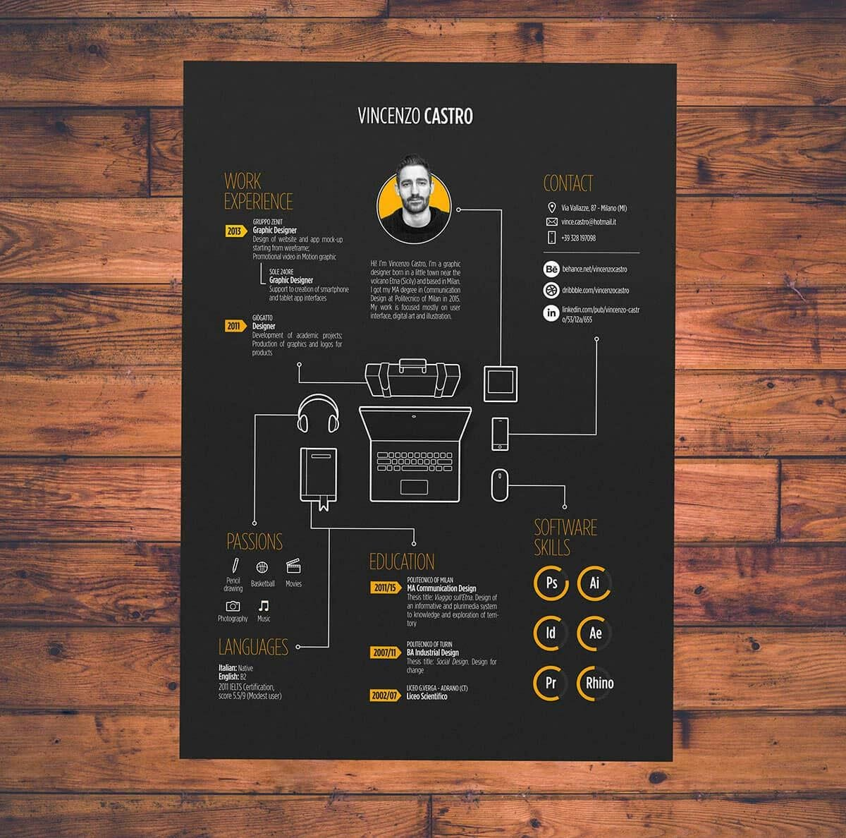 black and yellow personal infographic resume