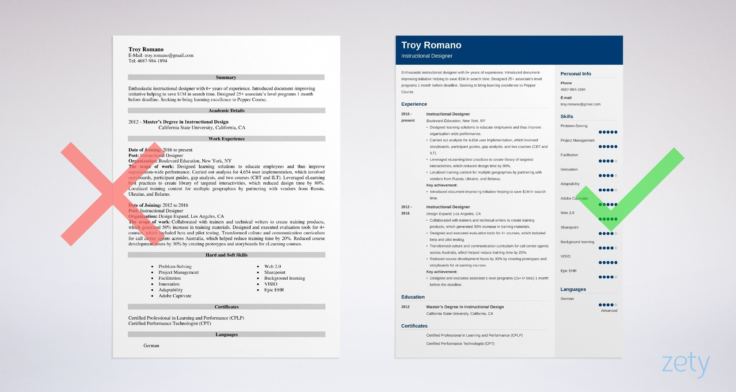 instructional designer resume templates