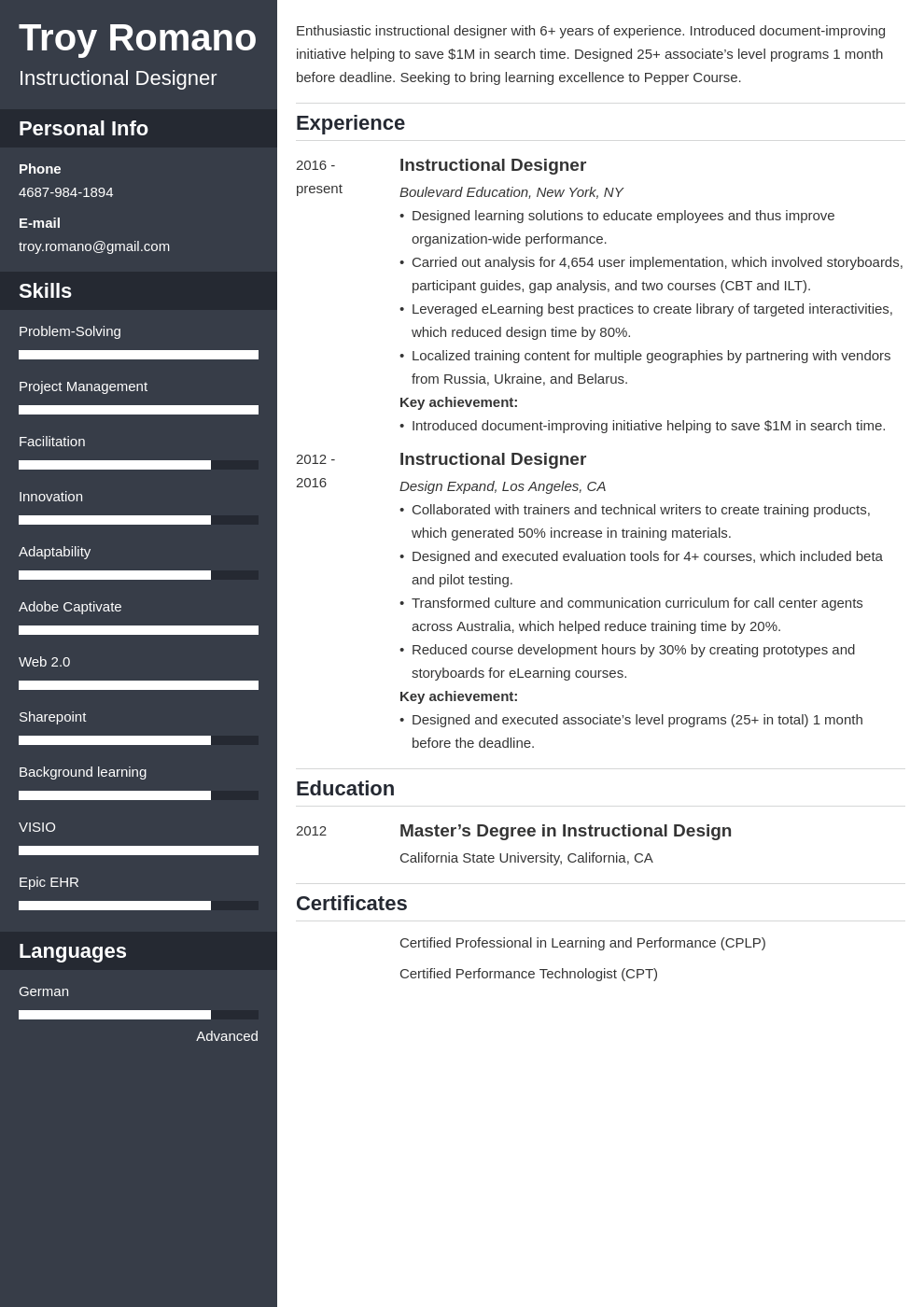 Instructional Designer Resume Sample Writing Guide 20 Tips