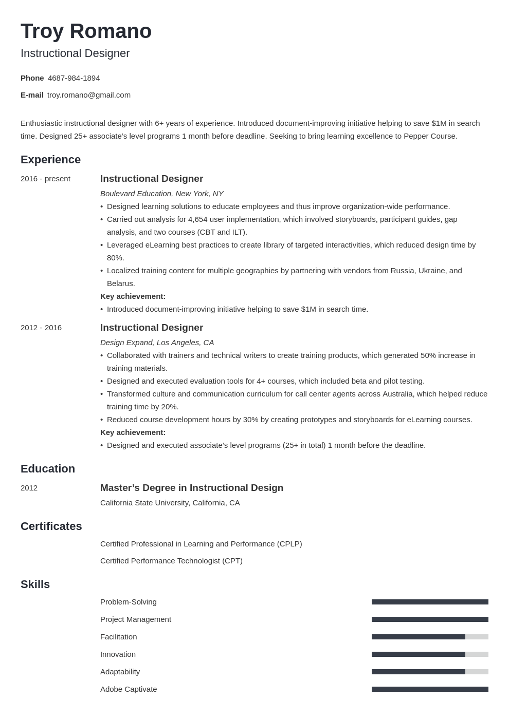 instructional designer resume example template minimo
