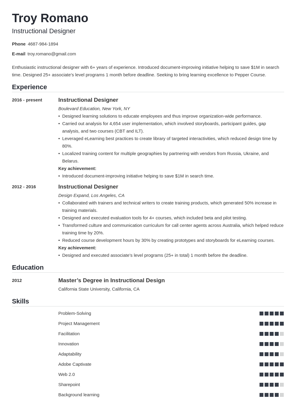 instructional designer resume example template nanica