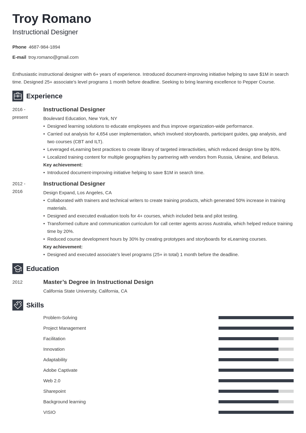 instructional designer resume example template newcast
