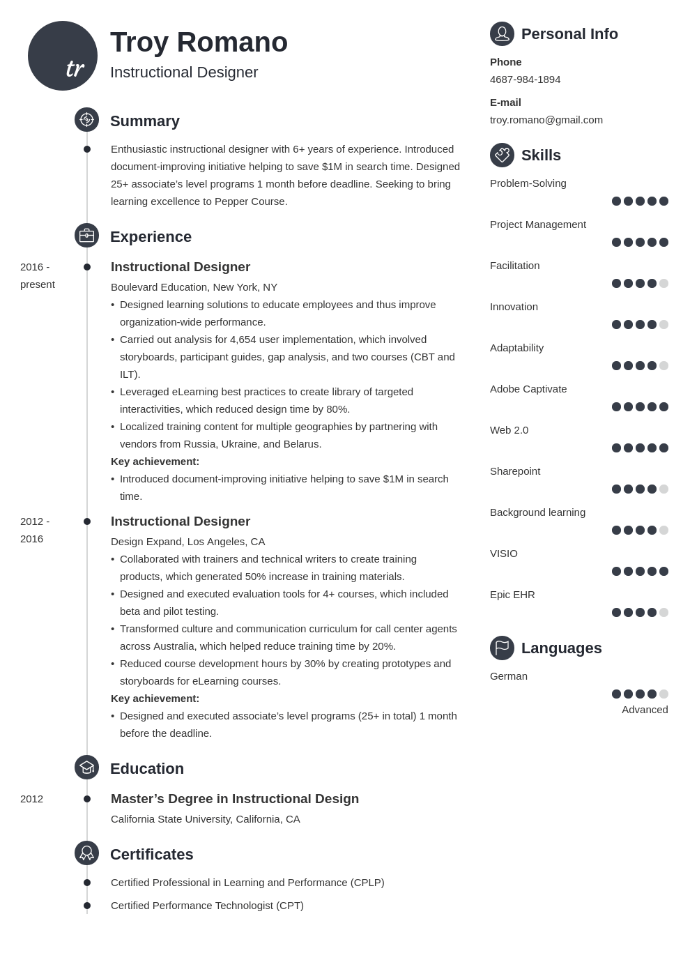 instructional designer resume example template primo
