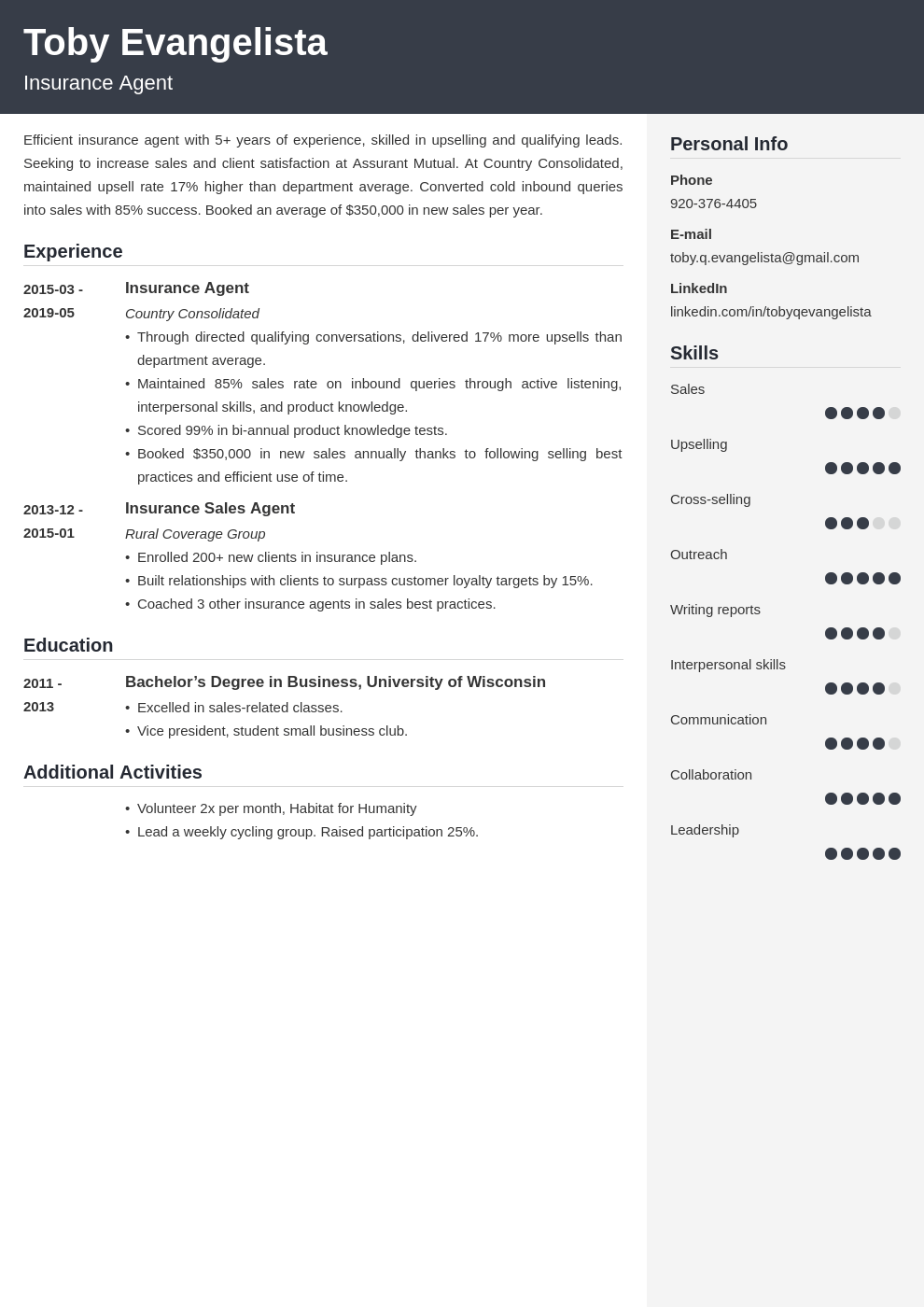 insurance agent resume example template cubic