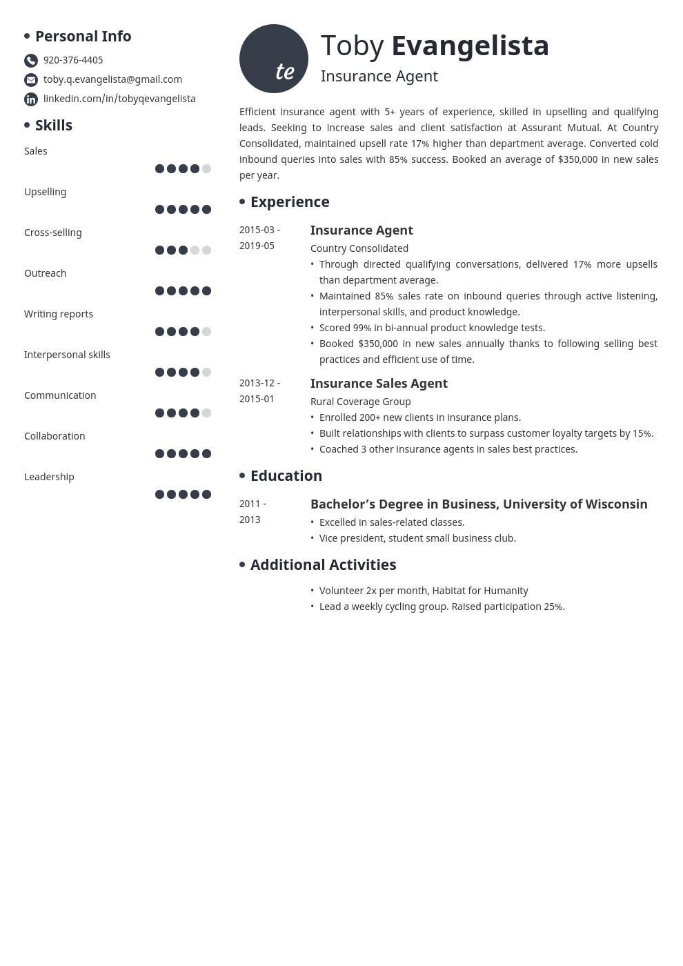 insurance agent resume example template initials
