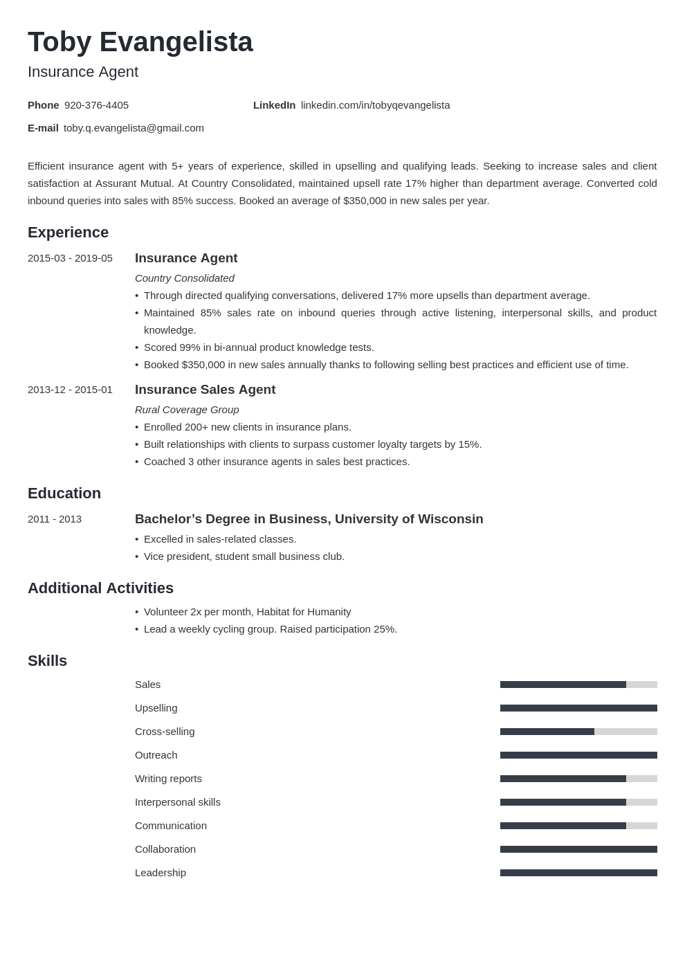 insurance agent resume example template minimo