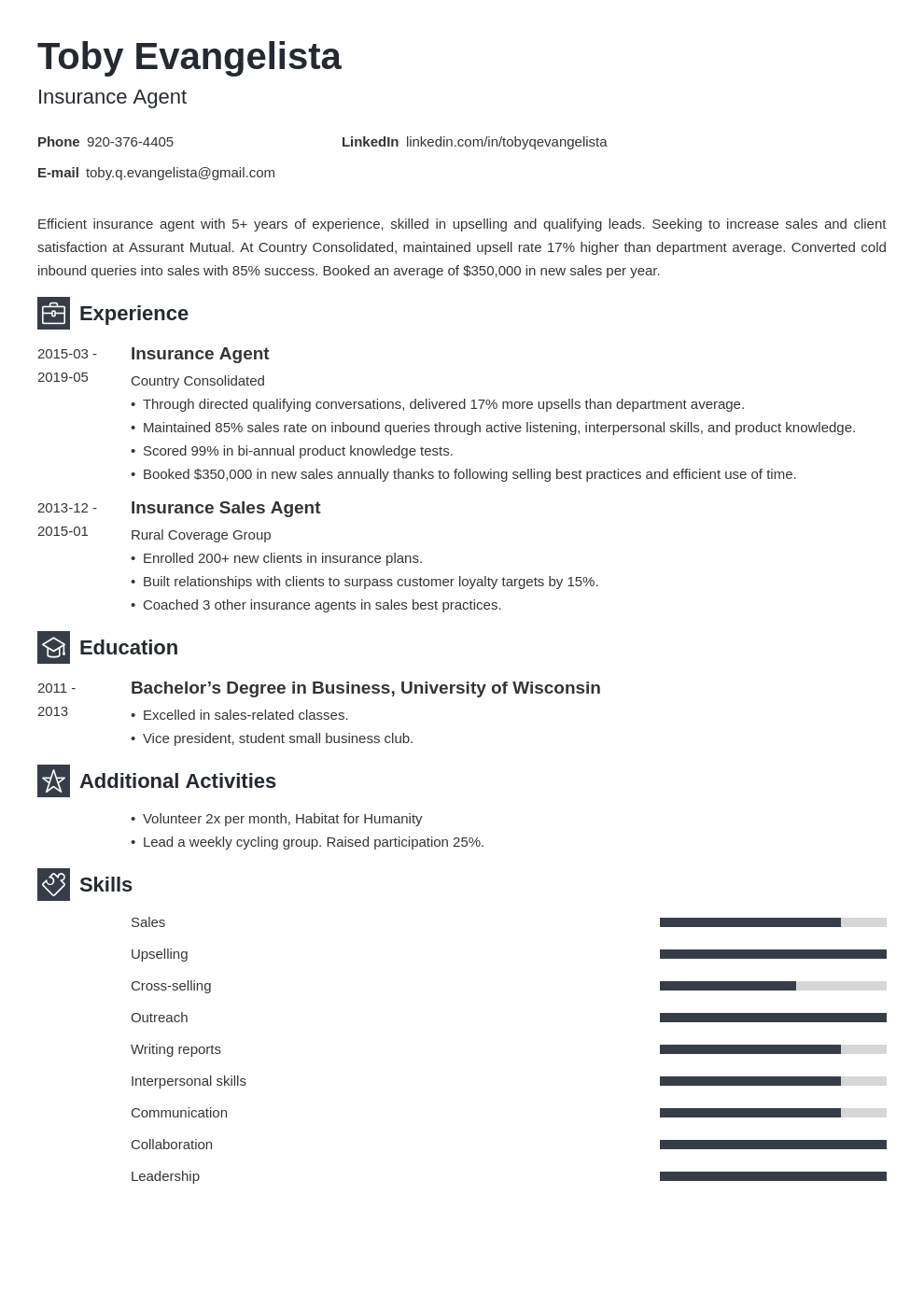 insurance agent resume example template newcast