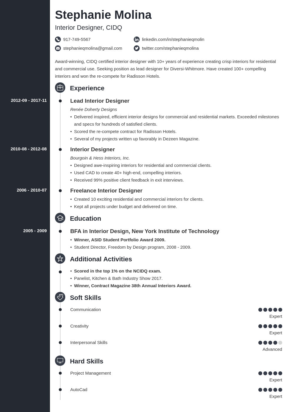interior design resume example template concept