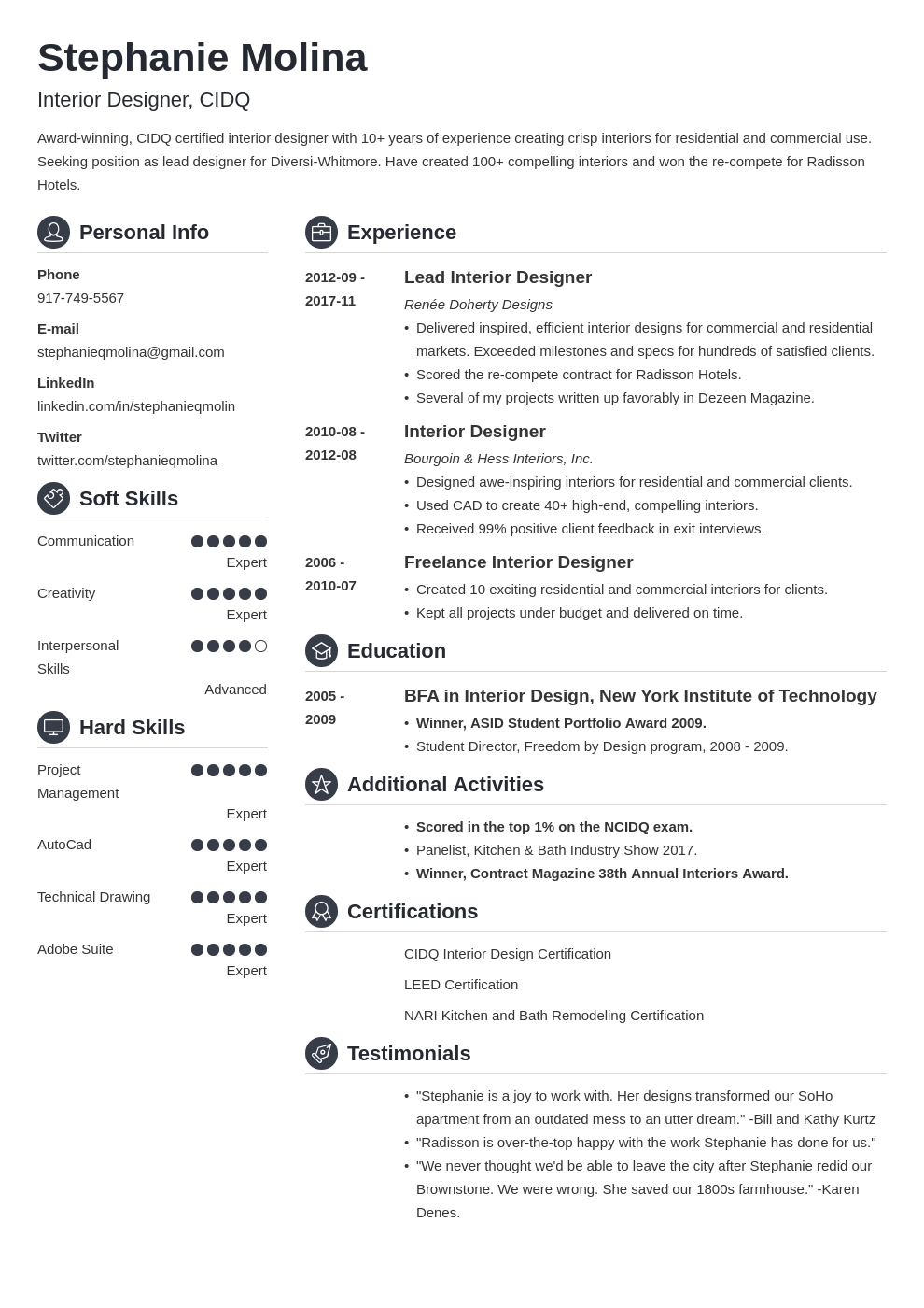 interior design resume example template crisp