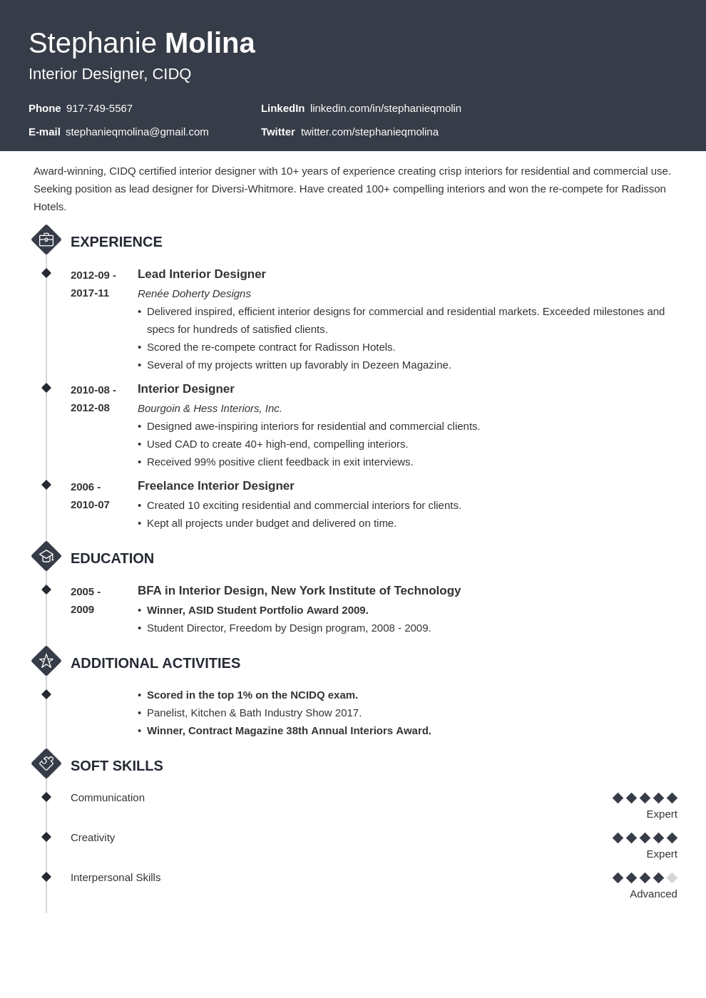 interior design resume example template diamond
