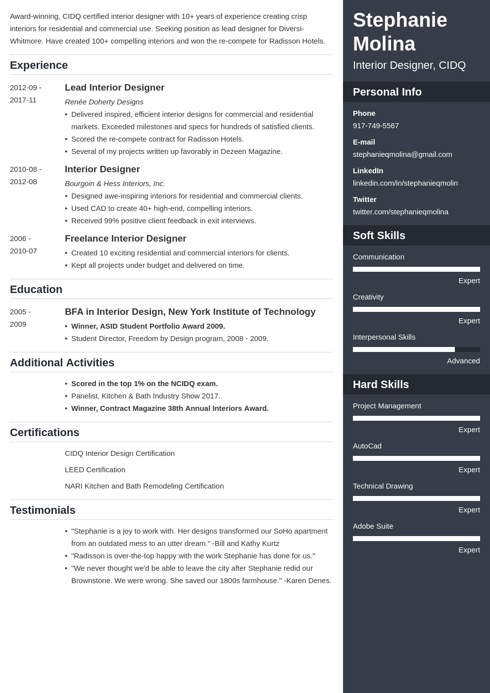 interior design resume example template enfold