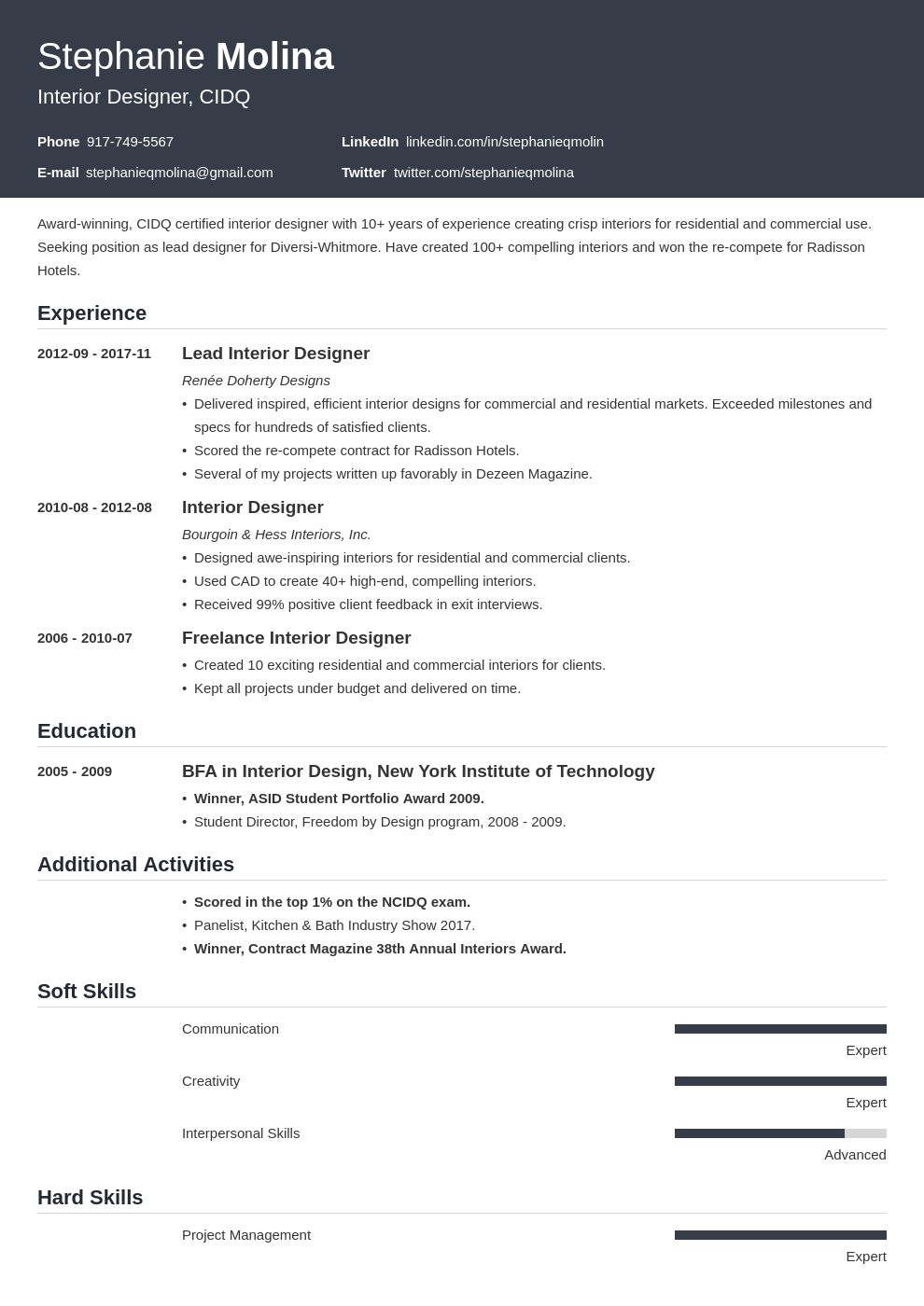 interior design resume example template influx