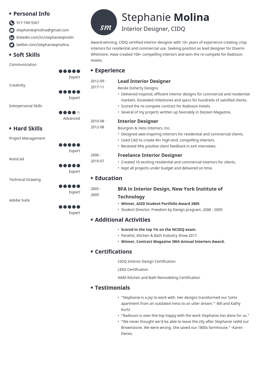 interior design resume example template initials